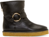 Stella McCartney Black Crepe Rubber Ankle Boots