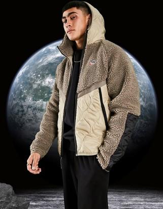 Nike Heritage Essentials Winter fleece panelled zip-through hooded jacket in stone