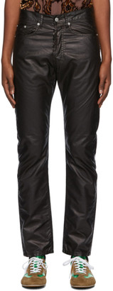 Dries Van Noten Black Coated Cotton Trousers