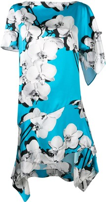 Roberto Cavalli Asymmetric Orchid Print Shift Dress
