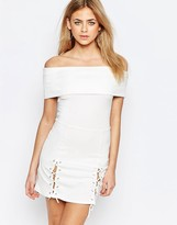 Boohoo Off The Shoulder Lace Up Dress