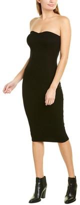 Enza Costa Ribbed Strapless Silk-Blend Midi Dress