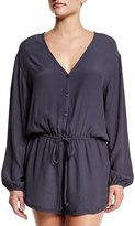 Tori Praver Swimwear Cozumel Button-Front Romper Coverup