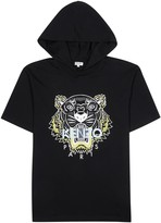 Kenzo Black Hooded Cotton T-shirt
