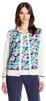 Anne Klein Women's Printed Mixed Media Cardigan