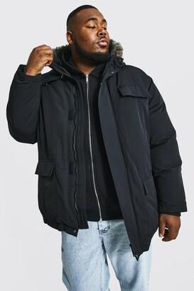 boohoo Mens Black Plus Size Faux Fur Hooded Arctic Parka, Black