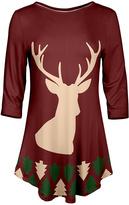 Azalea Red & Cream Reindeer Three-Quarter Sleeve Tunic - Plus Too