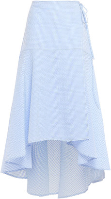 Ganni Charron Gingham Cotton-blend Seersucker Midi Wrap Skirt