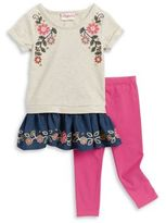 Flapdoodles Little Girl's Floral Embroidered Dress and Leggings Set