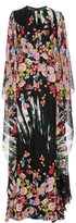 Elie Saab Flower Palm Printed Crepe Georgette Caftan Dress