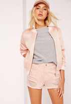 Missguided High Waisted Ripped Denim Shorts Pink