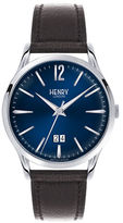 Henry London Analog Knightsbridge Silvertone Leather Strap Watch