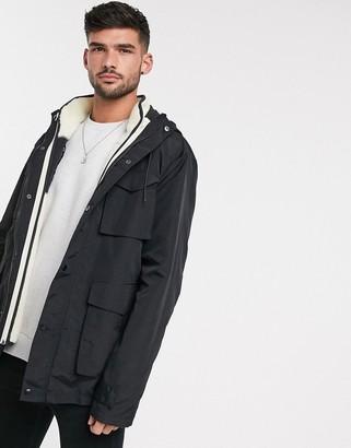 Asos Design DESIGN jacket in black with detachable teddy gilet