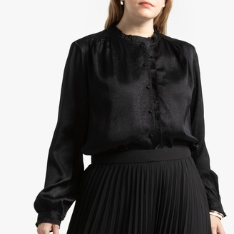La Redoute Collections Plus Ruffled Jacquard Blouse with High Neck and Long Sleeves
