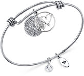 Unwritten Mother Heart and Disc Bangle Bracelet in Stainless Steel and Silver-Plate