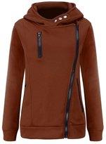Hibote Women's Hoodies Hooded Jacket Oblique Zipper Thickened Sweatshirt L