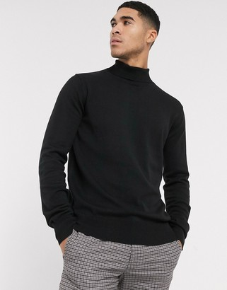 Bench knitted roll neck in black