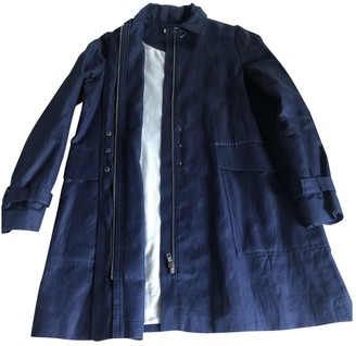 Sessun Blue Cotton Coat for Women