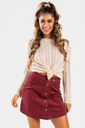 francesca's Electra Button Front Mini Skirt - Burgundy
