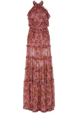 Alexis Genevra Ruffled Printed Georgette Gown