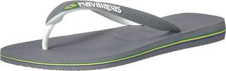 Havaianas Men's Brazil Mix Flip Flop Sandal Steel Grey/White/White 8 M US