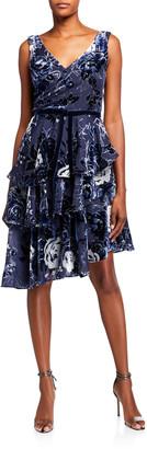 Marchesa Notte Sleeveless Velvet Burnout Chiffon Dress w/ Tiered Skirt