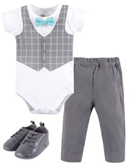 Little Treasures Little Treasure Baby Boy Short Sleeve Bodysuit, Pant & Shoes 3pc Outfit Set