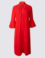 Twiggy Flute Sleeve Tie Neck Tunic Midi Dress