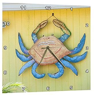 3drose 3dRose USA, Florida, New Smyrna Beach, metal crab art decoration., Wall Clock, 15 by 15-inch