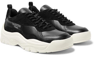 Valentino Garavani Gumboy Suede-Trimmed Leather Sneakers
