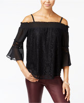 Amy Byer Juniors' Lace Cold-Shoulder Top