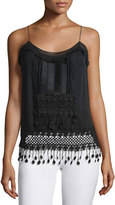 Elie Tahari Thelma Sleeveless Embroidered Blouse, Black