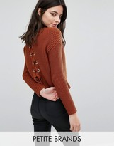 Missguided Petite Lace Up Back Boxy Sweater