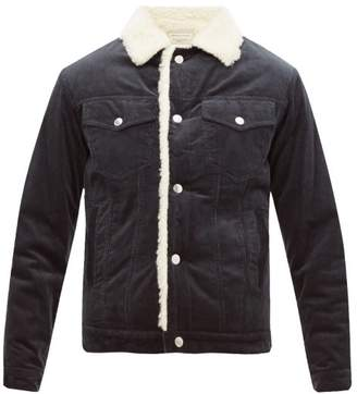 MAISON KITSUNÉ Faux Shearling-lined Cotton-corduroy Jacket - Mens - Mid Blue