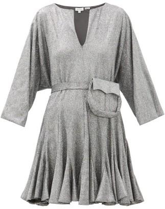 Rhode Resort Ryan Belted Glitter-jersey Mini Dress - Silver