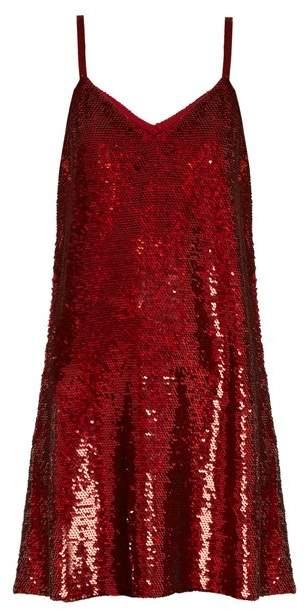 Ashish V Neck Sequin Embellished Mini Dress - Womens - Dark Red