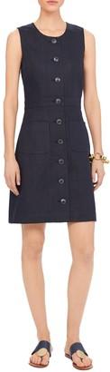 Tory Burch Notch Front Linen Shift Dress