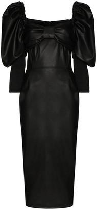 Anouki Puff Sleeve Leather Effect Dress