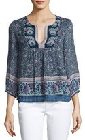 Joie Perialla Floral-Print Silk Peasant Blouse, Blue
