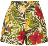 Miguelina Joone Printed Linen Shorts - Army green