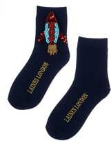 Laines London Navy Blue Bamboo Cotton Socks With Rocket Brooch