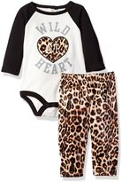 Bon Bebe Girls' 2 Piece Rear Snap Bodysuit and Velour Legging Set