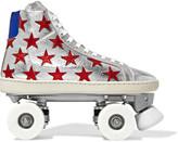 Saint Laurent Appliquéd Metallic Textured-leather Roller Skates - Silver