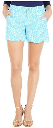 Lilly Pulitzer Palmita Stretch Shorts (Succulent Blue Sea Cups) Women's Shorts