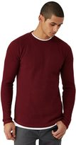 Frank + Oak Long-Sleeve Waffle Raglan Crewneck in Pomegranate