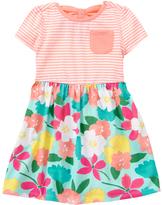 Gymboree Peach & Aqua Stripe & Floral A-Line Dress - Infant & Toddler