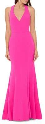 Betsy & Adam Pleated Sleeveless Gown