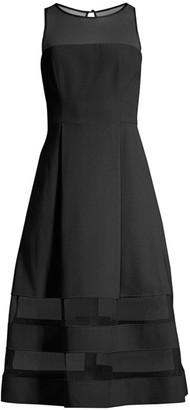 Aidan Mattox Mesh Detail Fit-&-Flare Dress