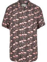 River Island MensPink flamingo print shirt