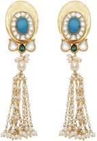 Carousel Jewels - Turquoise & Pearl Statement Long Earrings